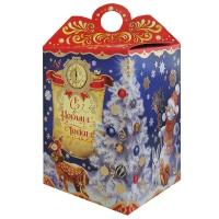 """Новогодняя упаковка """"Поздравление 1.0"""", 1000 гр, картонная подарочная коробка для конфет"""