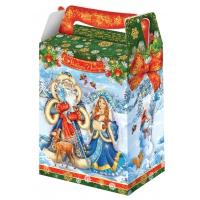 """Новогодняя упаковка """"Дед Мороз и Снегурка"""", 1000 гр, картонная подарочная коробка для конфет"""