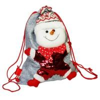 """Мешок-рюкзак с пайетками """"Снеговик"""", 1700 гр, текстильная новогодняя упаковка для подарков"""