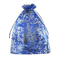 """Подарочный мешочек из органзы синий """"Шишки"""", 1000 гр, текстильная новогодняя упаковка для конфет"""