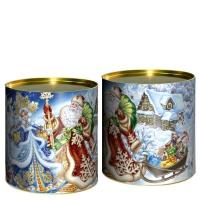 Подарочные картонные тубы «Дед Мороз и Снегурочка» 500 гр