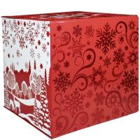 """Коробка складная с бантом """"КУБ красный"""", 1300 гр, подарочная новогодняя упаковка для конфет"""