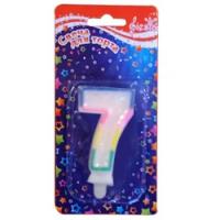 """Свеча для торта с блёстками """"Цифра 7"""" 0-9"""