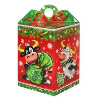 """Подарочная коробка """"ДВА БЫЧКА"""", 1000 гр, картонная новогодняя упаковка для конфет"""