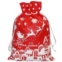 """Подарочный мешок """"Домики"""", 1300 гр, новогодняя упаковка для конфет"""