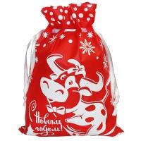 """Новогодний подарочный мешок """"РОМЕО"""" 1300 гр, текстильная новогодняя упаковка 2021 год быка"""