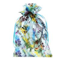 """Мешочек из органзы НГ """"СНЕЖИНКИ"""", 350х250 мм, 1000 гр, текстильная новогодняя упаковка для подарков"""