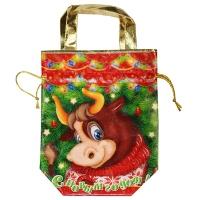 """Подарочная сумка-мешок """"СИМВОЛ"""" 1600 гр, новогодняя упаковка 2021 год быка"""