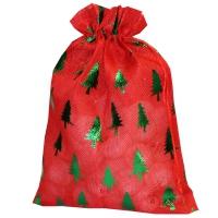 """Мешок холщовый """"ЁЛКИ ЗЕЛЕНЫЕ"""" металлик, 1300 гр, текстильная новогодняя упаковка для подарков, конфет"""