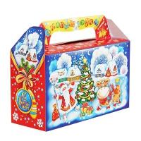 """Новогодняя упаковка """"Деревушка"""", 500 гр, картонная подарочная коробка для конфет, 2021 год быка"""