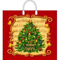 Пакет новогодний Праздничные нотки, 38х35, 90 мкм