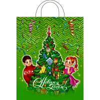 Пакет новогодний Веселая елка, 28х35, 55 мкм