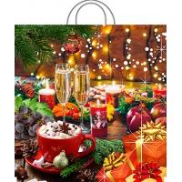 Пакет новогодний Праздничный стол, 45х45, 70 мкм