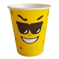 """Стаканы бумажные """"Эмоджи"""" желтые, 250мл"""