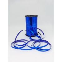 Лента подарочная металлизированная, синяя 5мм/250м