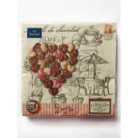 """Салфетки бумажные 3сл., 33x33, """"Шоколадное сердце"""", 20шт."""