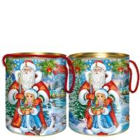 """Подарочные тубы """"Дед Мороз и внучка"""" 700 гр"""