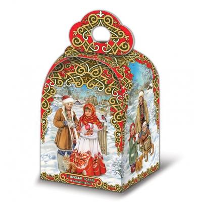 """Новогодняя подарочная коробка """"Русский стиль"""" 1500 гр, новогодняя упаковка для конфет"""