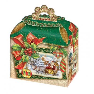 Новогодняя упаковка «Сундучок-ретро» 1200 гр, картонная подарочная коробка