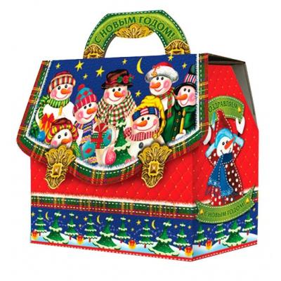 """Новогодняя подарочная коробка """"Портфельчик-Снеговики"""" 1800 гр, новогодняя упаковка для конфет"""