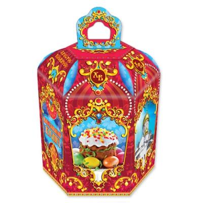 Подарочная коробка «Пасхальная-рубиновая» для кулича, пасхальная упаковка