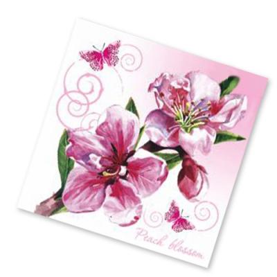 """Салфетки бумажные 3сл., 33x33, """"Цветы персика"""", 20шт."""