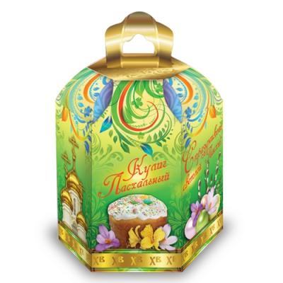 Коробка подарочная «Пасхальная зеленая» для куличей, пасхальная упаковка
