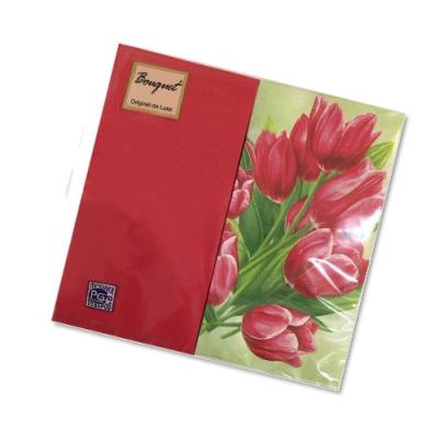 Салфетки бумажные 2сл., 33x33, «Микс: тюпаны+красный», 20шт.