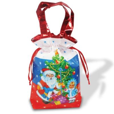 Подарочная сумочка с двумя ручками красная «Триколор», текстильная новогодняя упаковка