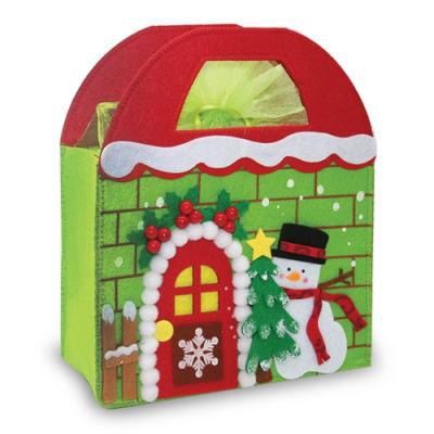 Домик из фетра «Снеговик», новогодняя упаковка для конфет, подарков