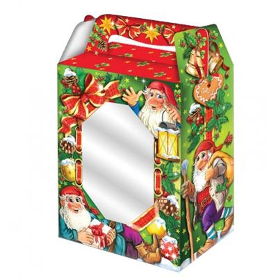 Новогодняя упаковка «Гномики-окно» 1000 гр, картонная подарочная коробка с окном