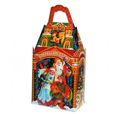 """Новогодняя упаковка """"Терем резной"""" 1000 гр, картонная подарочная коробка для конфет"""