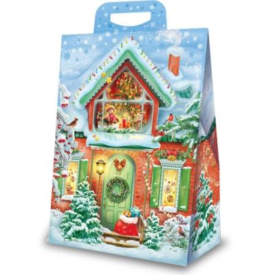 Новогодняя упаковка «Домик» 2000 гр, картонная подарочная коробка для конфет