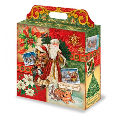 """Новогодняя подарочная коробка """"Коллаж"""" 4000 гр, новогодняя упаковка для конфет"""