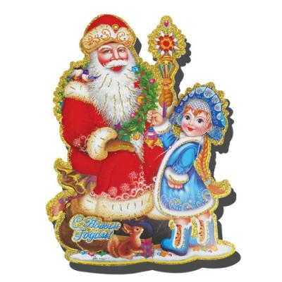 """Бумажное украшение """"Дед Мороз и Снегурочка"""", 37х26"""