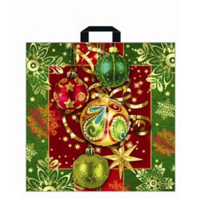 Подарочный пакет Новогоднее украшение 45х45 см, 70 мкм, с петлевыми ручками