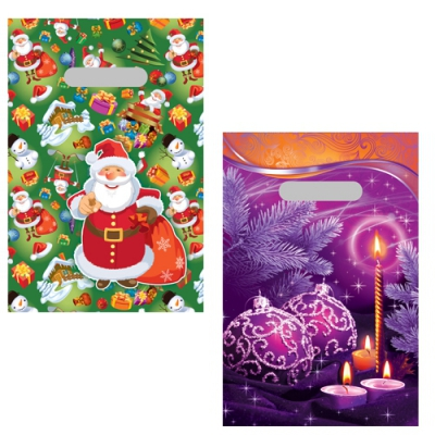 """Новогодние подарочные пакеты """"Микс Ассорти"""" 20х30 см, 35 мкм, новогодняя упаковка"""