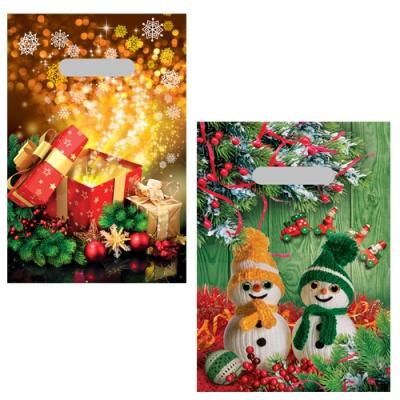 """Новогодние подарочные пакеты """"Микс Сюрприз"""" 20х30 см, 35 мкм, вырубные ручки, новогодняя упаковка"""