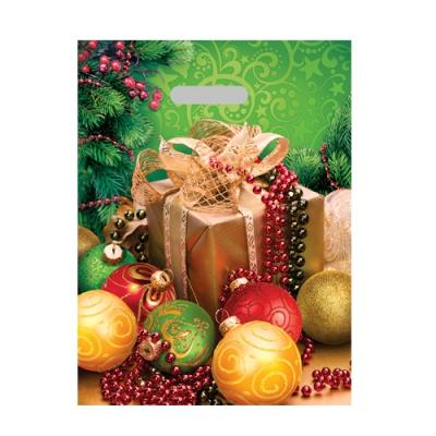 Подарочный пакет НГ Шарики 30х40, 40 мкм, ПВД, вырубные ручки, новогодний