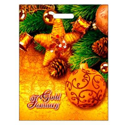 """Подарочный пакет """"Золотой январь"""" 38х47, 60 мкм, ПВД, вырубные ручки, новогодняя упаковка"""