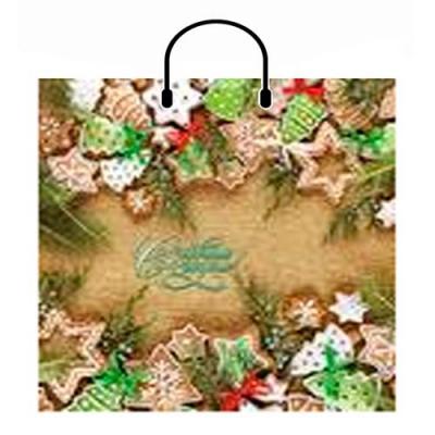 Подарочный пакет Новогоднее Печенье 360х350 мм, 100 мкм, пластиковые ручки, новогодняя упаковка