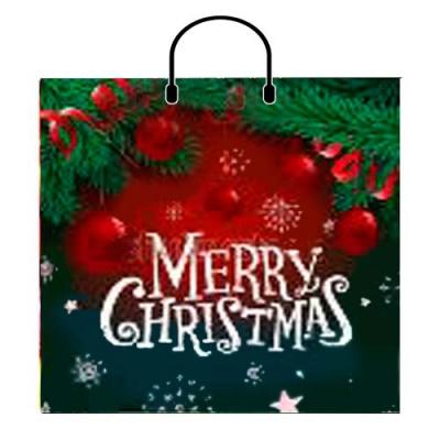 Новогодний подарочный пакет Красные шары 38х35, 100 мкм, с пластиковыми ручками, новогодняя упаковка