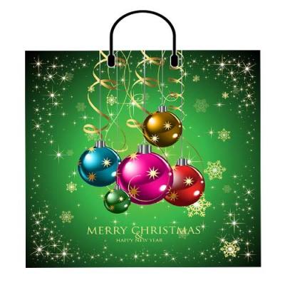 Новогодний подарочный пакет Серпантин и шары 380х350 мм, 100 мкм, новогодняя упаковка