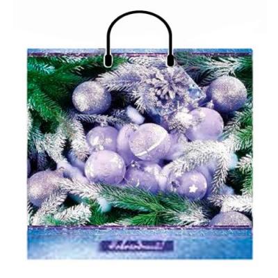 Новогодний подарочный пакет Веточка 400х420 мм,100 мкм, с пластиковыми ручками, новогодняя упаковка