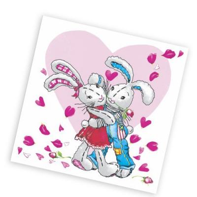 """Салфетки бумажные 1сл., 25х25, """"Сердечная любовь"""", 40шт."""