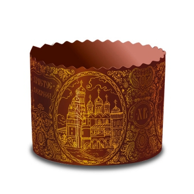 Форма бумажная для куличей  СОБОР Золото, 134х100 мм, 500-550 гр