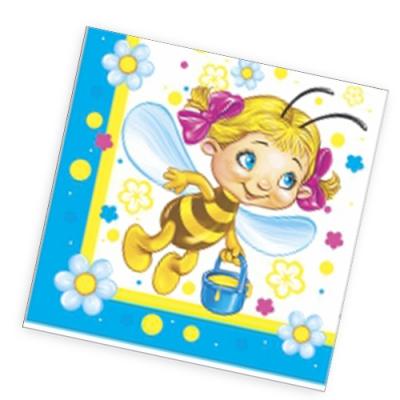 """Салфетки бумажные 2сл., 33x33, """"Веселые пчелки"""", 20шт."""