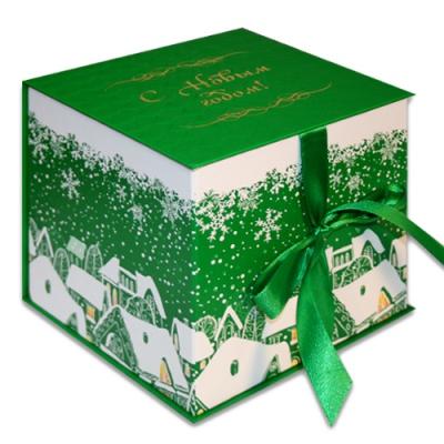 """Подарочная складная коробка """"Куб зеленый"""" 1300 гр, новогодняя упаковка для подарков"""