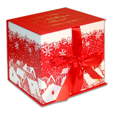 """Подарочная складная коробка """"Куб красный"""" 1300 гр, новогодняя упаковка для подарков"""