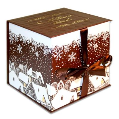 Подарочная складная коробка «Куб мокко» 1300 гр, новогодняя упаковка для подарков